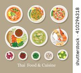 thai food and ingredients set ... | Shutterstock .eps vector #410296318