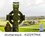 Irish Celtic Cross In Rock Of...