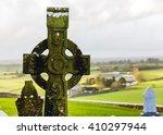 Irish Celtic Cross In Rock Of...
