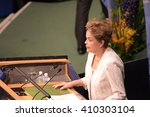 Small photo of NEW YORK CITY - APRIL 22 2016: Opening ceremonies at the United Nations General Assembly took place prior to member nations signing the Paris Climate Accord. Brazilian president Dilma Rousseff