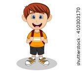 A Boy With Backpack Cartoon...
