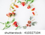 wreath frame with red and white ... | Shutterstock . vector #410327104