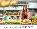 Shopping Woman Buying Fruit At...