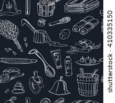 sauna accessories doodle... | Shutterstock .eps vector #410335150