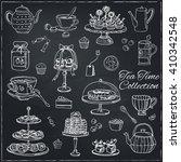 tea time  doodle set. sketch.