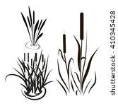 bulrush  sedge. set. silhouette....   Shutterstock . vector #410345428