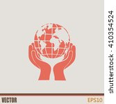globe icon with hand  vector... | Shutterstock .eps vector #410354524