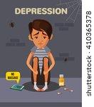 depression boy. vector flat...   Shutterstock .eps vector #410365378