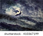 Stock photo viking ship in a great storm 410367199
