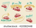 set of vintage surfing car... | Shutterstock .eps vector #410382448