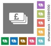 pound banknotes flat icon set...
