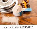 whey protein powder in... | Shutterstock . vector #410384710