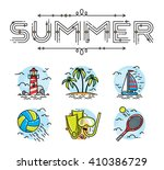 summer icon set with lettering  | Shutterstock .eps vector #410386729