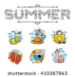 summer icon set with lettering  | Shutterstock .eps vector #410387863