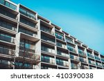 low angle view of balconies on... | Shutterstock . vector #410390038