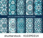 set of blue kaleidoscope... | Shutterstock .eps vector #410390314