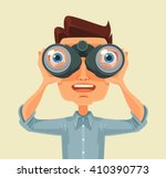 man with binoculars. vector... | Shutterstock .eps vector #410390773