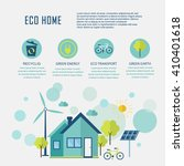 eco home in flat design.... | Shutterstock .eps vector #410401618