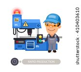 worker pushes the start button... | Shutterstock .eps vector #410403610