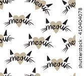 Meow Cats Pattern With Hearts