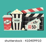 retro movie flat cartoon... | Shutterstock .eps vector #410409910
