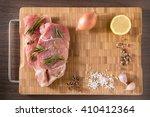 top view raw pork chop steak...