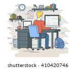 man is working with laptop.... | Shutterstock .eps vector #410420746