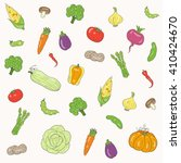 seamless vegetable pattern... | Shutterstock .eps vector #410424670