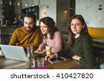 yong hipster male and females... | Shutterstock . vector #410427820