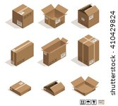 isometric cardboard boxes... | Shutterstock .eps vector #410429824