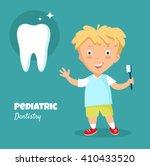 little boy smiling   holding in ... | Shutterstock .eps vector #410433520
