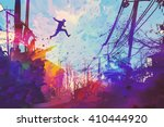 man jumping on the roof in city ... | Shutterstock . vector #410444920