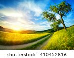 idyllic rural landscape with... | Shutterstock . vector #410452816