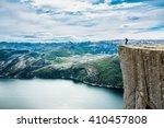 preikestolen or prekestolen ... | Shutterstock . vector #410457808