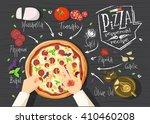 italian pizza recipe. pepperoni ... | Shutterstock .eps vector #410460208