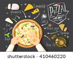 italian pizza recipe. four...   Shutterstock .eps vector #410460220