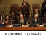 Small photo of NEW YORK CITY - APRIL 22 2016: UN secretary-general Ban Ki-Moon presided over a high-level meeting to discuss implementation of the Paris Climate Accord with John Kerry & other signatories.