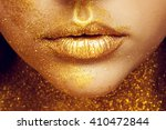 magic girl portrait in gold.... | Shutterstock . vector #410472844