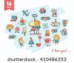 flat design valentines day love ... | Shutterstock . vector #410486353
