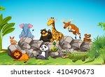 wild animals sitting on the... | Shutterstock .eps vector #410490673