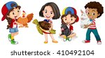 children with domestic animals... | Shutterstock .eps vector #410492104