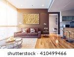 living room with big window... | Shutterstock . vector #410499466