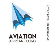 folded blue airplane paper... | Shutterstock .eps vector #410524174