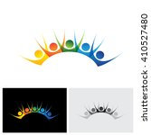 colorful happy   excited set of ... | Shutterstock .eps vector #410527480