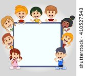 children peeping behind placard ... | Shutterstock .eps vector #410527543