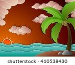 Coconut Palm Tree And Beach...