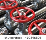 Oil Or Gas Pipe Line Valves. 3d ...