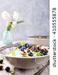 healthy breakfast  quark with... | Shutterstock . vector #410555878