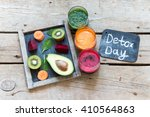 fresh detox juices detox day... | Shutterstock . vector #410564863