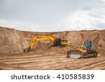 An Excavator Working Removing...